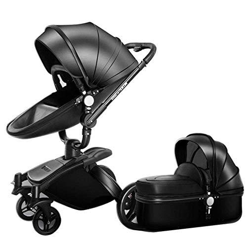 Hohe Landschaft Kinderwagen Leder Zwei-Wege-Auto 360-Grad-Falten-Stoßdämpfer Kann Sitzen Baby Auto (2 In 1: Sitz + Schlafkorb),Black