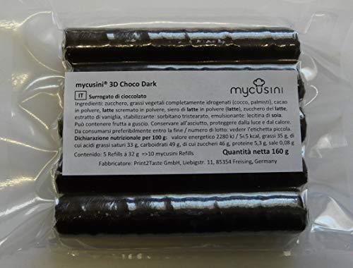 mycusini 3D Choco Dark - accessori per stampante 3D alimentare mycusini, cioccolato personalizzato, ornamenti di cioccolato, ordini di cioccolato, pralina personalizzata, decorazioni per torte