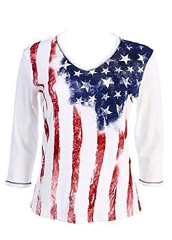 Jess N Jane  Old Glory Dressy Ladies Rhinestone Cotton T Shirt White-Medium