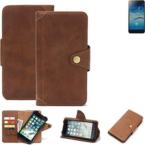 K-S-Trade® Handy-Hülle Für Jiayu S3+ Schutz-Hülle Walletcase Bookstyle Tasche Handyhülle Schutz Case Handytasche Wallet Flipcase Cover PU Braun (1x)