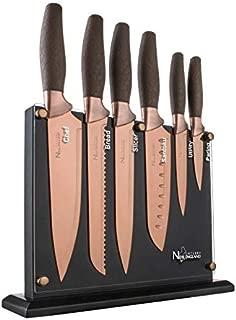 New England Cutlery NE8807 7 Piece Titanium-Coated Knife Set with Invisible Wood Block, Bronze
