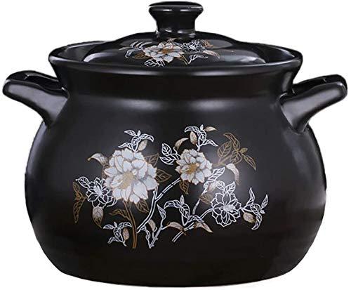 Casserole Céramique Cassif de cuisson lente, en grès Dualhandled, potagerie ronde, pot en argile Simmering Stockpot Bibimbap Noir 3.9l (Color : Black, Size : 5L)