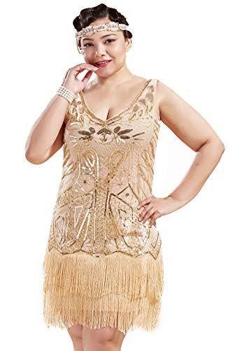 Coucoland 1920-tal klänning dam plus size festlig V-ringad dubbelskikt fransar Charleston paljetter klänning grosse storlek dam Gatsby Cocktail Fasching kostym klänning