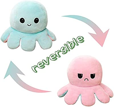 Sancosco Double-Sided Flip Octopus Plush Toy Soft Stuffed Animal Doll Birthday Presents Xmas Gifts for Kids Girls Boys Adults (Pink & Light Blue) from Sancosco