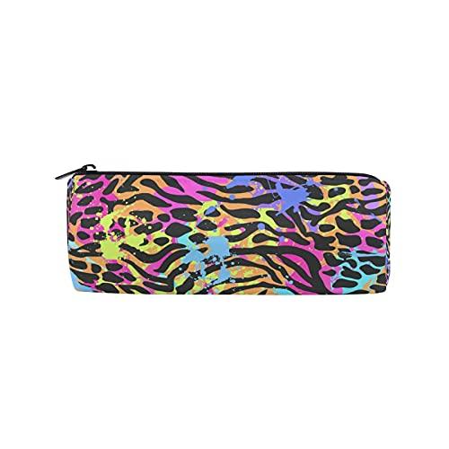 JNlover - Estuche de lápices con estampado de animales y colorido, estuche redondo para papelería, bolsa de maquillaje para adolescentes, niños, oficina