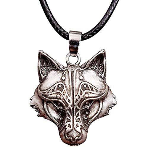 Collar de Lobo para Hombres y Mujeres Viking Wolf Head Pendant Faux Cuero Cordón Lobo Joyería Regalo para Día de San Valentín, Navidad, Cumpleaños o Aniversario Regalo (Color : A)