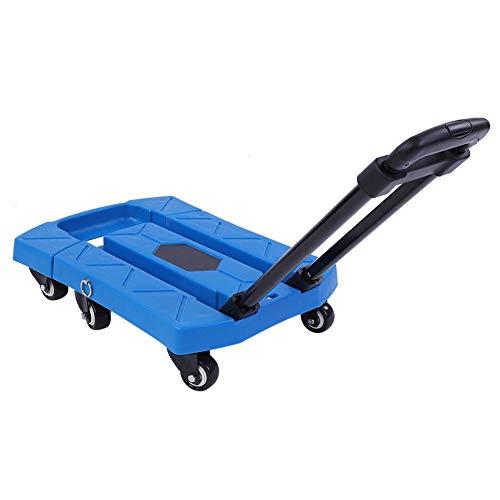 KAUTO Carro Plegable telescópico con 6 Ruedas giratorias, 400 kg de Capacidad Carro de Equipaje para camión portátil con asa Ajustable para almacén y Carro de fábrica...