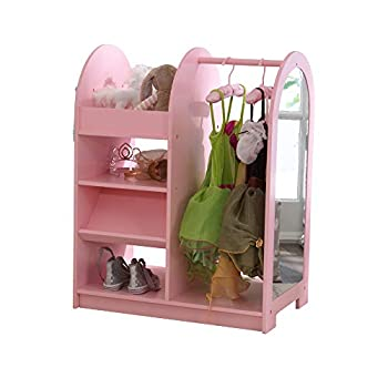 KidKraft Wooden Fashion Pretend Dress-Up Station Children s Furniture with Storage and Mirror - Pink Gift for Ages 3+