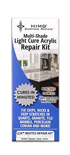 Weiss - Reparaturset für Oberflächenschäden auf Granit, Marmor, Naturstein, Fliesen, Acryl, Kunststoff und Porzellan, lichthärtend