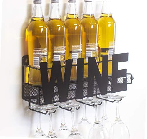 OTZ 5 Bottle Wall Mountable Wine Rack Shelf with 8 Wine Glass Holder Wine Bottle Rack