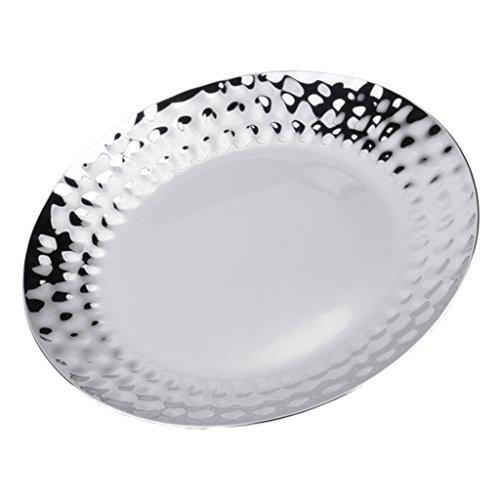 Sharplace Assiette Verre Plateau en Acier Inoxydable de Service Hôtel Plats De Tasse Vaisselle Cuisine Coutellerie Rond