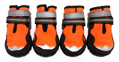 Xanday Dog Boots Waterproof Dog Shoes, Paw Protectors with Reflective and Adjustable Straps and Wear-Resisting Soles,4PCS (8, Orange)