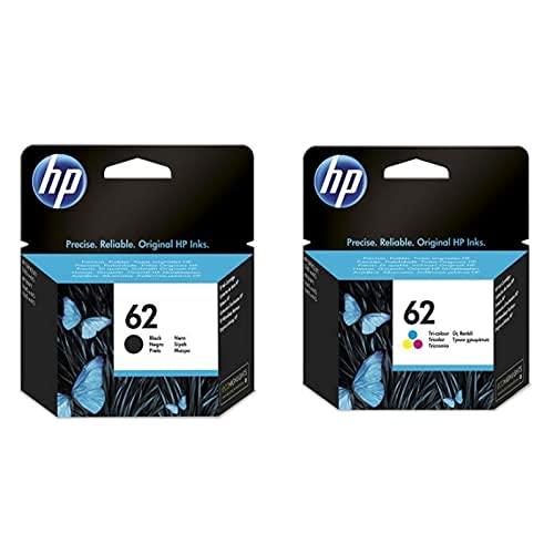 HP 62 C2P04AE, Negro, Cartucho Original de Tinta, ompatible con impresoras de inyección de Tinta HP Envy 5540, 5640, 7640;OfficeJet 200, 250, 5740 + Tricolor, Cartucho de Tinta Original