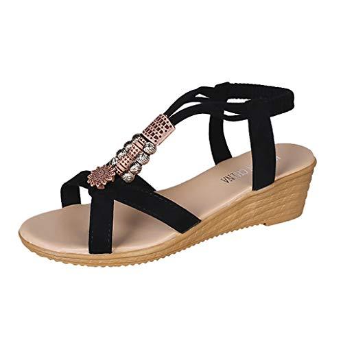 Sandalias de Mujer con Elegantes Tacones de cuña de Verano - Bohemian Beads Tallas Grandes Calzado de Mujer Hebilla con Punta Abierta Plataforma Alta 5 CM Zapatos de Playa Princesa/Verano