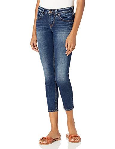 Silver Jeans Co. Women's Suki Mid Rise Capri Jeans, Dark Denimotion, 28x22.5