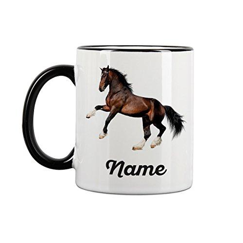 Striefchen® Tasse mit Pferd bedruckt und deinem Wunschnamen Clydesdale