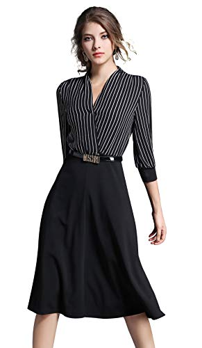 LAI MENG FIVE CATS Women's V Neck Business Striped/Gingham/Solid Work A line Midi Dress
