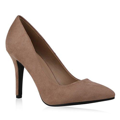 Spitze Damen Pumps Satinoptik Pailletten High Heels Schuhe 119448 Khaki Velours Camiri 38 Flandell