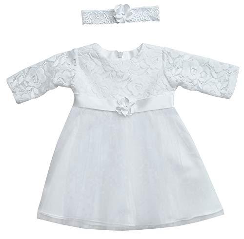 deine-Brautmode Kleid Babykleid Taufkleid Festkleid Mädchen Baby Taufe Spitze weiß, Romy 56