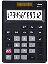 $54 » Yusuo Calculator Electronic Desktop Calculator 12 Digit Large Display,Solar Battery LCD Display Office Calculator Black
