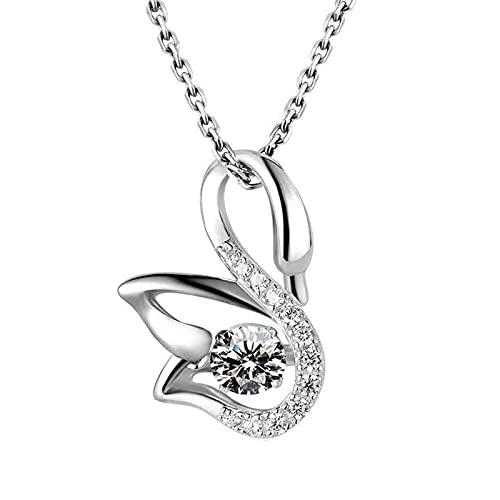 Genuino collar de oro blanco PT950 para damas, colgante de cisne de oro blanco de 18 quilates, es el regalo romántico perfecto para la amada mujer en el día de San Valentín y cumpleaños.