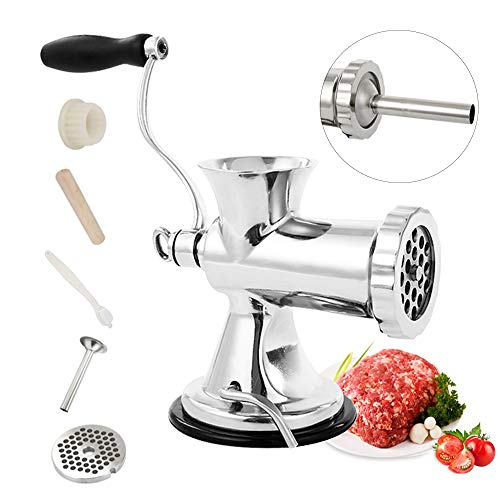 Huanyu Manual Meat Grinder Stainless Steel Hand Meat Sausage Stuffer Manual Meat Grinding Machine Sausage Filler Filling Machine for Pork, Beef Fish Chicken Pepper Mushrooms ect(With ONE SAMLL Enema)