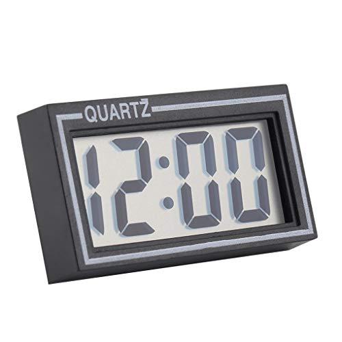teng hong hui Schwarz-Digital-LCD Tisch Auto Uhr Armaturenbrett-Taktgeber Armaturenbrett Schreibtisch Datum Zeit Kalender Kleine elektronische Uhr