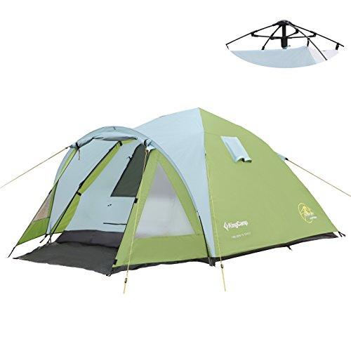 KingCamp Vacances 3 Saison Facile jusqu'à Tente 3000mm imperméable résistant au feu pour Camping randonnée Famille (4 Man)