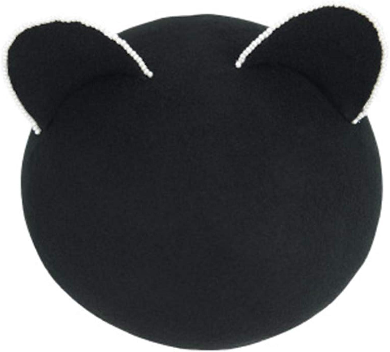 Ladies Beret Hat Beret Woman Wild Fashion Cat Ears Warm Black Wool Painter Hat Artist Hat Beanie Cap