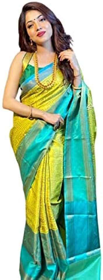 Indian CRINGO TEX womens kanchipuram wedding soft lichi silk Saree With Unstiched Blouse Piece. Saree