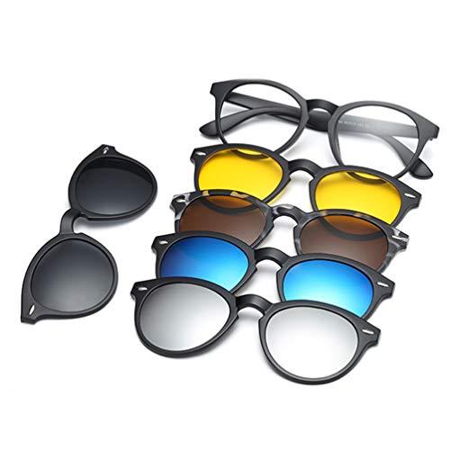 Embryform Gafas de sol con clip,MagClip Montura de Gafas con Clip de Sol Polarizado Magnético(5 Clip+1 Marco)