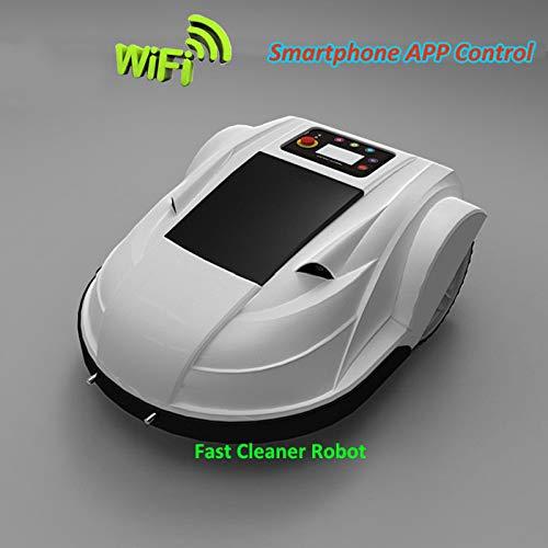 SHPEHP Voll aufgerüsteter Mähroboter mit Regensensor und Sicherheitsabschaltung, diebstahlsicherer Passwortmäher mit WiFi-Fernbedienung für Gärten bis zu 3000 Quadratmetern-White