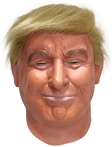 ASEDRF Realistische Promi Maske-Präsidentschaftskandidat Der Republikaner Mask-Donald Trump Mask-Latex Ganz Head-Haar Orange, Erwachsen-Größe