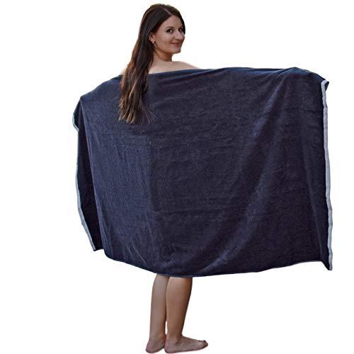 HOMELEVEL Toalla XL para sauna, baño, spa, algodón, 180 x 100 cm, color azul oscuro y blanco