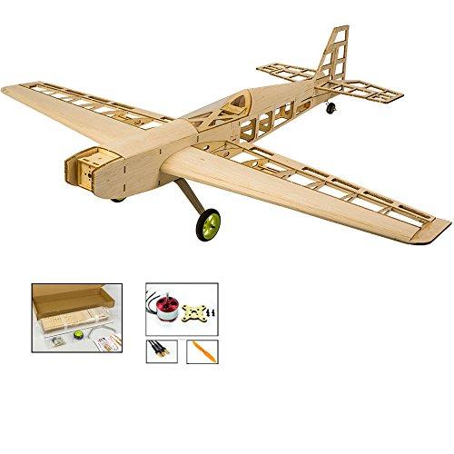 DW Hobby Balsa avión eléctrico de Madera Cortada con láser, 800 mm, Kit de construcción T-10 para Entrenamiento 3D; Kit de avión de Corte láser controlado por Radio Basswood 4CH sin Montar