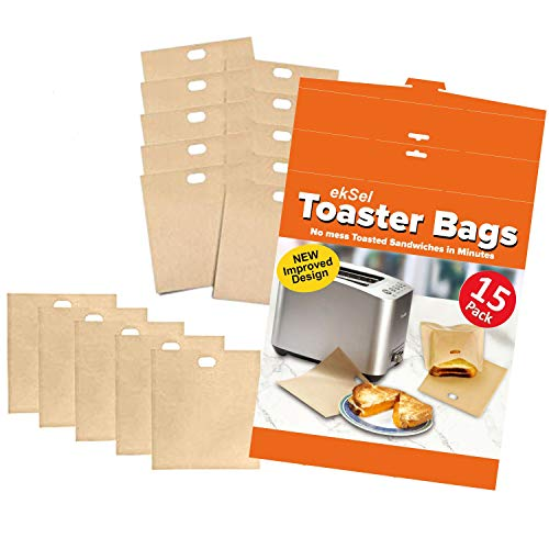 ekSel Non Stick Reusable Toaster Bags Pack of 15