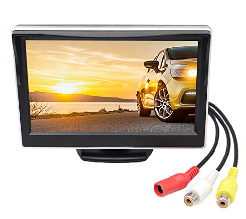 """GreenYi-08 Vehicle On-Dash Backup Monitor, 5"""" Digital HD Car TFT LCD Color Screen Display with 2 Video Input for Rear View Camera"""