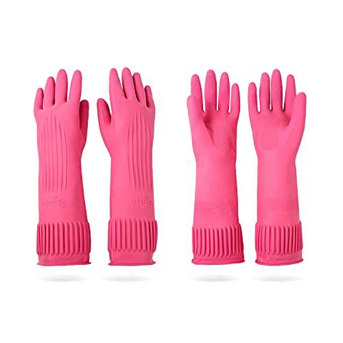 DABOGOSA Mamison 2 Pairs Reusable Waterproof Household Dishwashing Cleaning Rubber Gloves, Non-Slip Kitchen Glove(Medium)