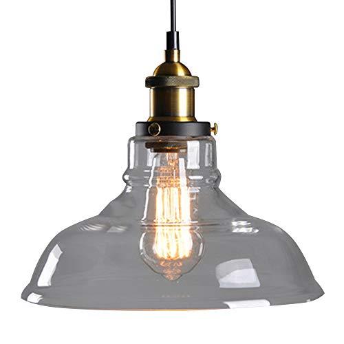 Lámpara de techo de cristal retro industrial, vintage, lámpara Edison, casquillo E27,...
