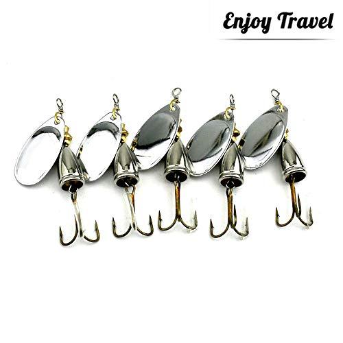 GWFISH Señuelos Cucharillas de la Pesca Kits Set, Spinner Cebo del Hilandero...