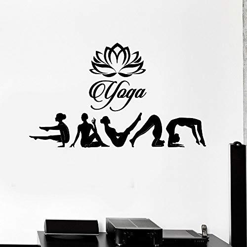 Tatuajes de pared de estudio de yoga plantean sala de meditación hindú decoración de interiores puertas y ventanas pegatinas de vinilo papel tapiz creativo