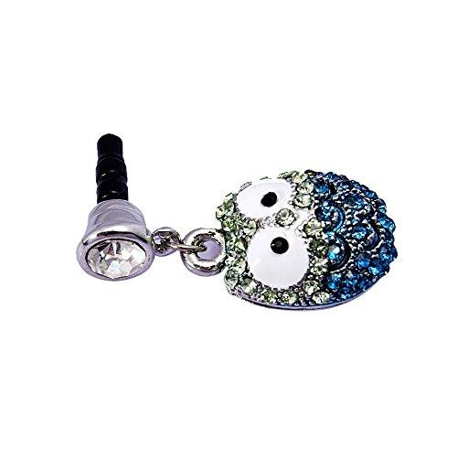 Da.Wa de Rhinestone de 3.5 mm de búho para Auriculares de Cristal del Diamante del del Polvo de Lujo Anti-Polvo Enchufe Toma de Auriculares Tapón Antipolvo