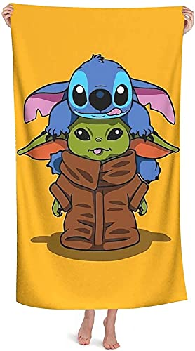 NICHIYOBI Lilo & Stitch – Disney Anime Lilo & Stitch – Toalla de playa para niños, de verano (5,150 x 200 cm)