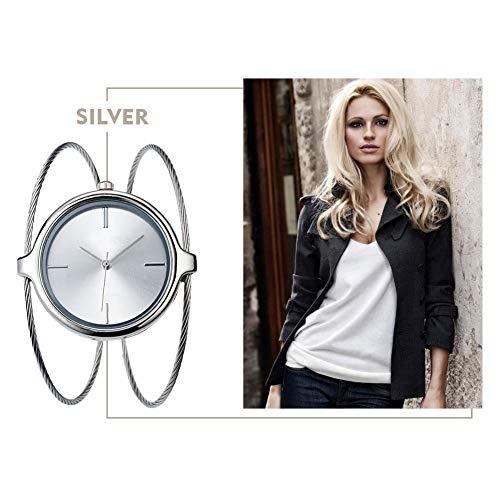 Armbanduhr Damen Quartz Analog Uhren Stahlband Langlebig Modische Armreif Schmuck(Silber)