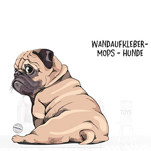 Sunnywall Wandtattoo Aufkleber Mops Hund mach Sitz