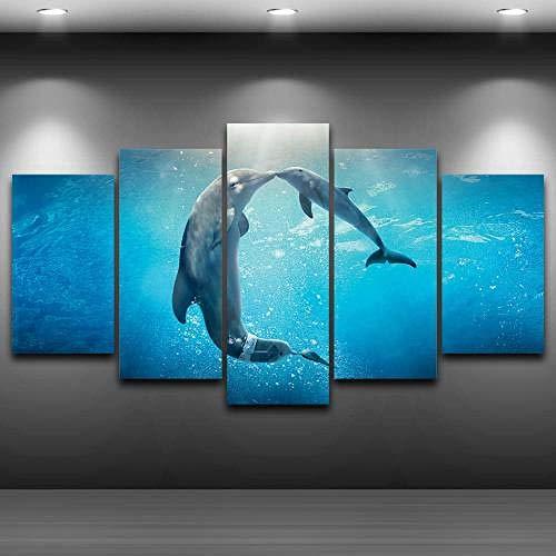 QMCVCDD Moderno Cuadro En Lienzo 5 Piezas Animales Marinos Besando Delfines HD Poster Pictures Paintings Home Decor Impresión Artística Fotográfico Regalo -Enmarcado