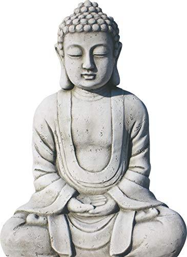 AnaParra Estatua Buda Tissa del Éxito Figura Decorativa para Jardín o Exterior Hecho de Piedra Artificial | Figura Buda 38cm., Color Natural Musgo