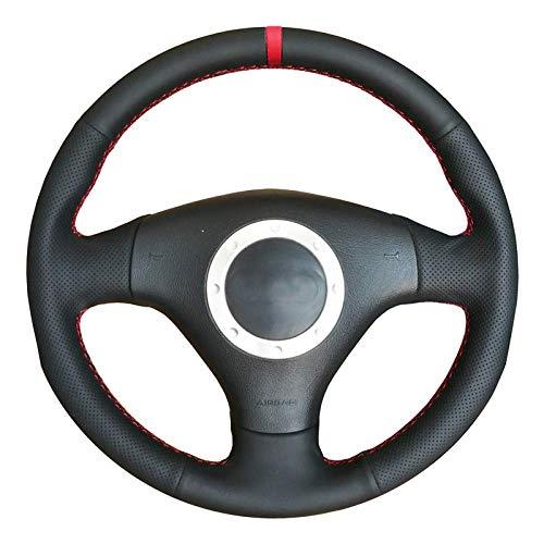 Funda para volante de cuero negro con marcador rojo, apta para Audi A2 8Z A3 8L Sportback A4 B6 Avant A6 C5 A8 D2 TT 8N S3 S4 RS4 RS6, estilo 01