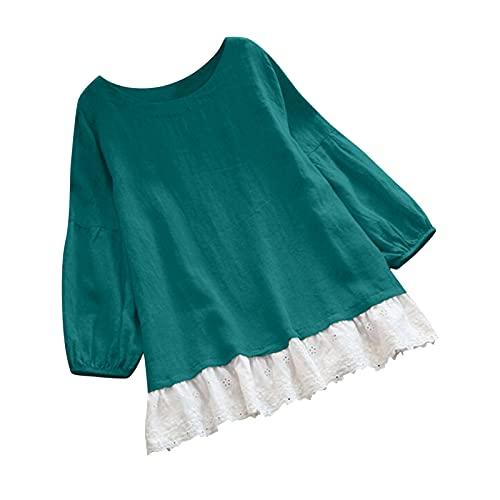 NISOWE Camiseta de manga larga para mujer, estilo vintage, patchwork, con volantes, cuello en V, cuello en V, verde, S