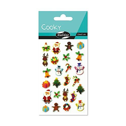 Maildor 560419C Packung mit Stickers Cooky 3D (1 Bogen, 7,5 x 12 cm, ideal zum Dekorieren, Sammeln oder Verschenken, Weihnachten) 1 Pack